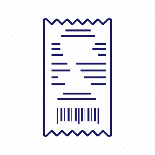 bill, cash receipt, check, paper check, payment, purchase, receipt icon