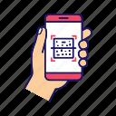 app, barcode, matrix barcode, qr code, scan, scanner, smartphone icon