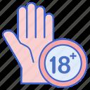 18+, stop, hand