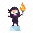 achievement, avatar, emoji, emoticon, fire, ninja icon