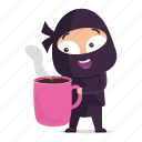 avatar, coffee, emoji, emoticon, mug, ninja icon