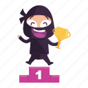 avatar, emoji, emoticon, first, ninja, place icon