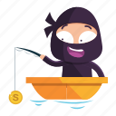 avatar, emoji, emoticon, fishing, money, ninja icon