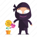 avatar, emoji, emoticon, grow, money, ninja icon