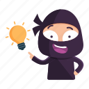 avatar, emoji, emoticon, idea, ninja, thought icon