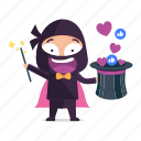 avatar, emoji, emoticon, magic, magician, ninja icon