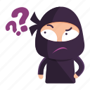 avatar, emoji, emoticon, ninja, question, thinking icon