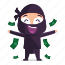avatar, emoji, emoticon, money, ninja, raining icon