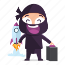 avatar, emoji, emoticon, launch, ninja, rocket icon