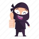 avatar, emoji, emoticon, ninja, thumbs, up, wink icon