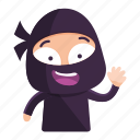 avatar, emoji, emoticon, greeting, ninja, wave icon