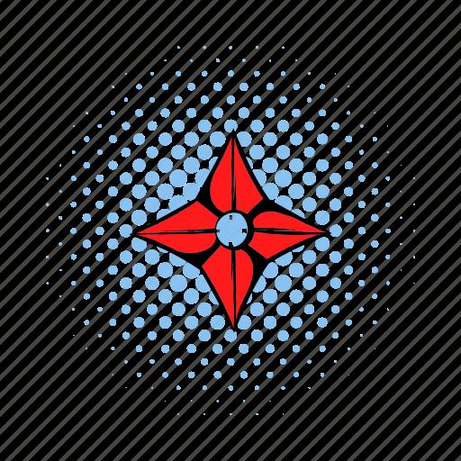comics, karate, ninja, red, star, throwing, weapon icon