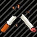 broken, cigarette, broken cigarette, tobacco, smoking, broken cigarettes, butt