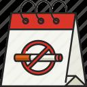 calendar, date, schedule, event, no tobacco day, cigarette, no tobacco