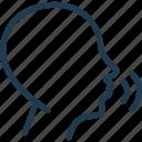 head, loud, noise, sound, wave icon