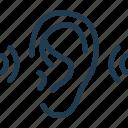 ear, loud, noise, sound, wave icon