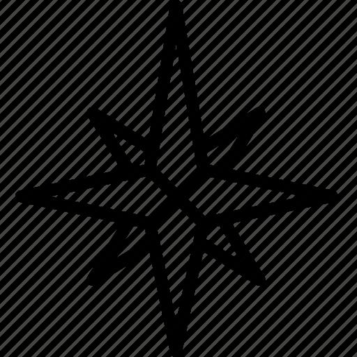 arrow, compass, north, point, star icon
