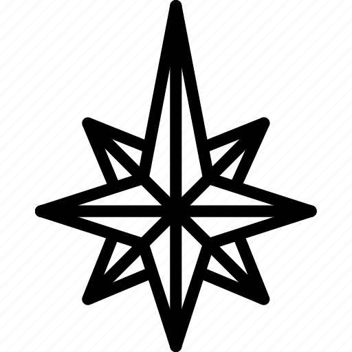 arrow, compass, direction, north, point, star icon