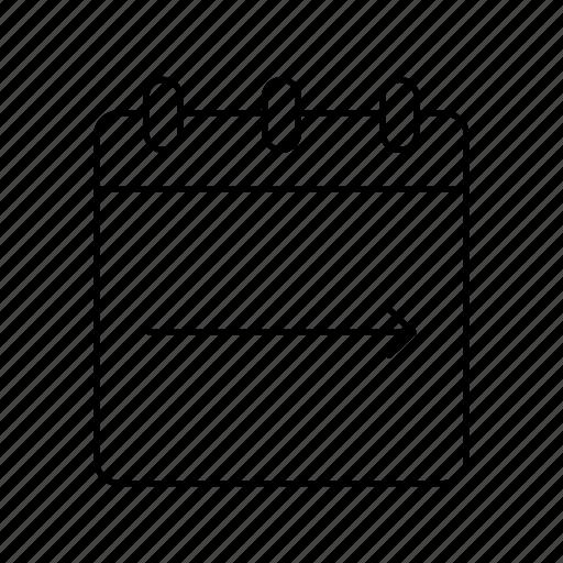 arrow, calendar, move notepad, notebook, notepad, notepads, right arrow icon