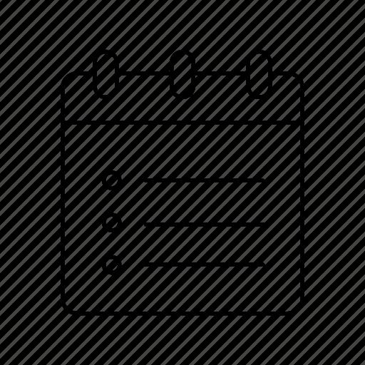 calendar, list, notebook, notepad, notepads, schedule, to do list icon