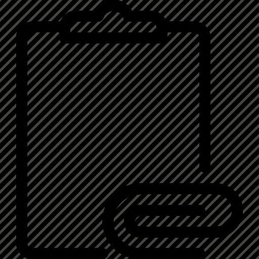attache, clipboard, document, paper, task icon