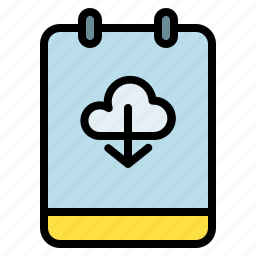 cloud, download, memo, note icon