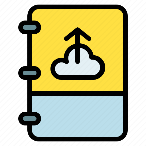 book, cloud, note, upload icon