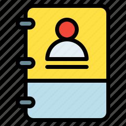 book, note, profile, user icon