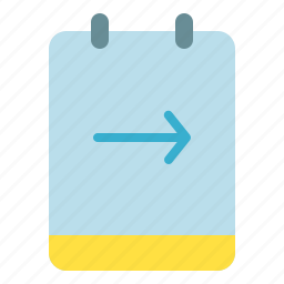 arrow, memo, note, right icon