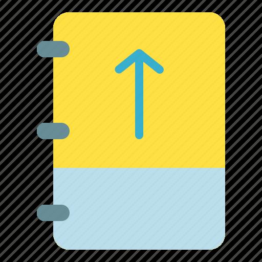 arrow, book, note, up icon