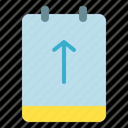 arrow, memo, note, up icon