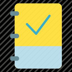 book, check, note, verify icon