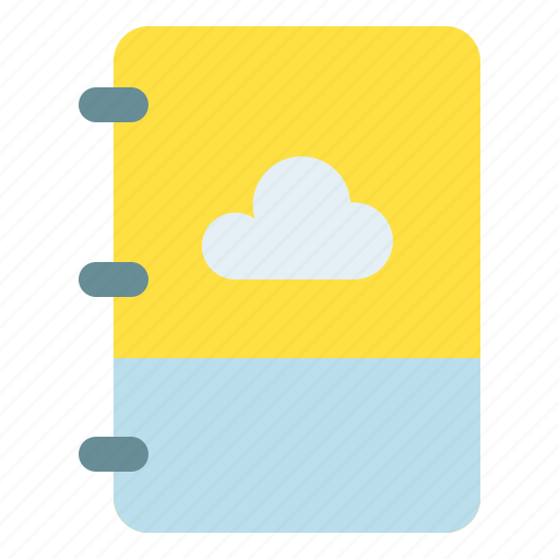 backup, book, cloud, note icon