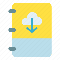 book, cloud, download, note icon