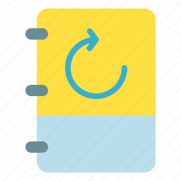 book, note, refresh, reload icon