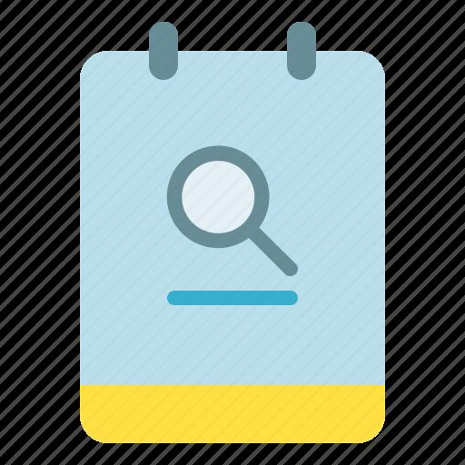 magnifier, memo, note, search icon