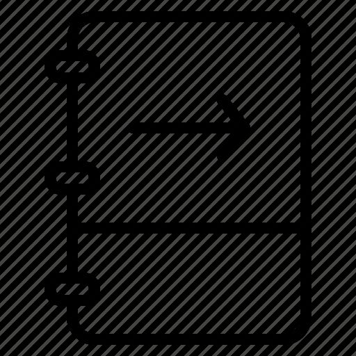 arrow, book, note, right icon