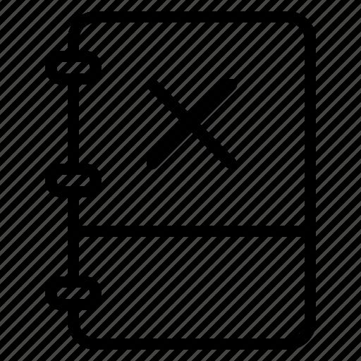book, close, cross, note icon