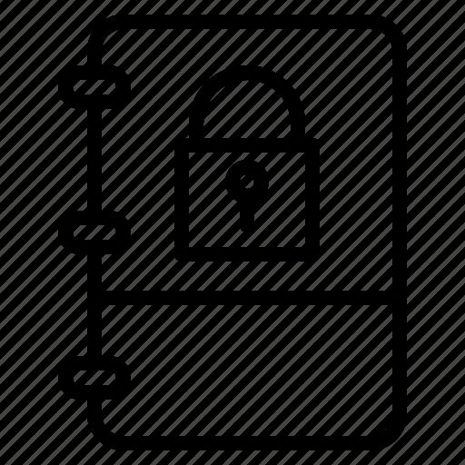 book, locked, note, private icon