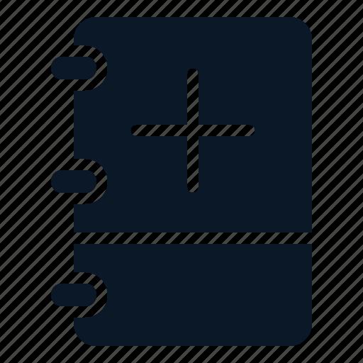 add, book, note, plus icon