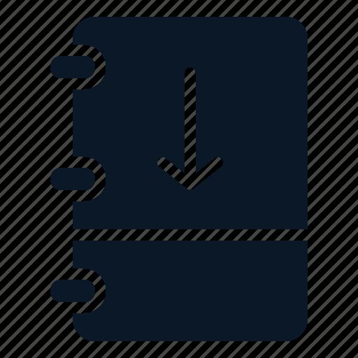 arrow, book, down, note icon