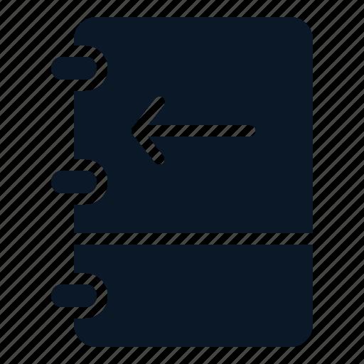 arrow, book, left, note icon