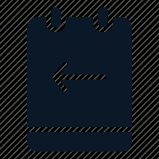 arrow, left, memo, note icon