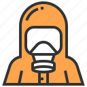hazmat, medical, protection, security, suit icon