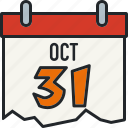 calendar, date, halloween, holiday, october 31, scary, spooky icon
