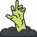grave, halloween, hand, holiday, scary, spooky, zombie icon