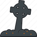 celtic cross, graveyard, halloween, holiday, scary, spooky, tombstone icon