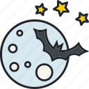 bat, halloween, holiday, moon, night, scary, spooky icon