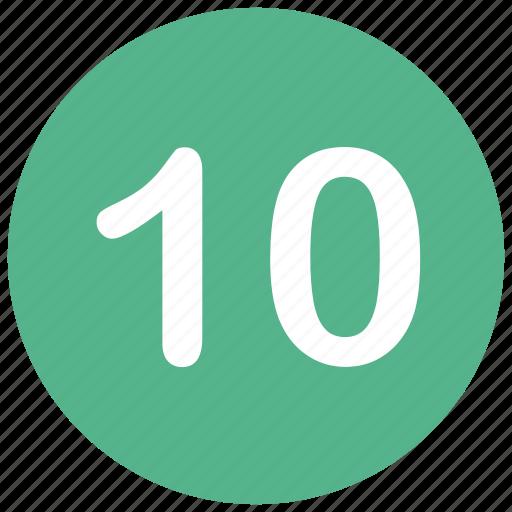 count, math, mathematics, number, ten icon