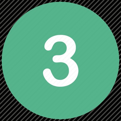 count, math, mathematics, number, three icon